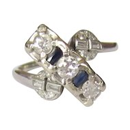 Art Deco Diamond & Sapphire Ring, 14K White Gold