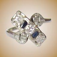 Art Deco Diamond & Sapphire Ring, 14K White Gold