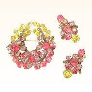 D&E Juliana Rhinestone Brooch & Earrings, Floral Wreath