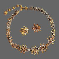 DeMario Rhinestone Necklace & Earrings, 40's
