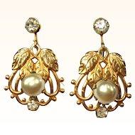 Glass Pearl Drop Earrings, Rhinestone, GF, Art Nouveau