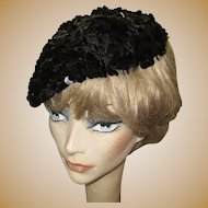 Sequined Hat / Beret, 50's Crochet, Black Paillettes
