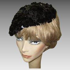 Sequined Hat / Beret, 50's Crochet, Black Paillettes