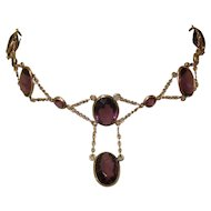 Victorian Festoon Necklace, Gold Filled, Amethyst Glass Stones