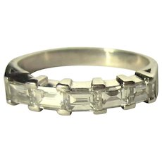 Platinum & Diamond Ring, 1.25cts, Emerald Cuts, Vintage 40's