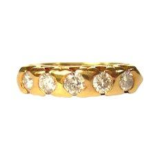 Diamond Ring, 18K Rose Gold, Vintage 5 Stone Band