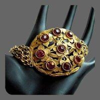 Czech Glass Bracelet, Filigree & Floral, Art Nouveau