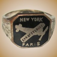 Spirit of St. Louis Ring,  Enamel, 1920's Vintage Memorabilia