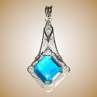 Art Deco Necklace, Rhodium Filigree & Blue Stone, Huge