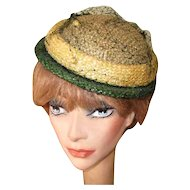 Vintage 40's Hat, Chanda, Green Brimmed Summer Straw