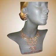 Rhinestone & Crystal Bib Necklace & Drop Earrings, Vintage 60's