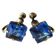 Vintage Sterling Earrings, Sapphire Blue Square Cut Stones, Deco
