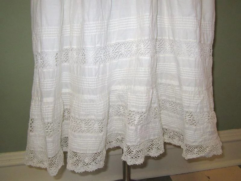 Antique Lace Petticoat / Slip / Skirt, White Cotton, Hand ...
