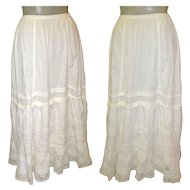 Antique Lace Petticoat / Slip / Skirt, White Cotton, Hand Made
