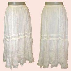 Antique Lace Petticoat / Slip / Skirt, White Cotton, Hand Made