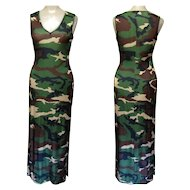 Vintage Camouflage Dress, Shiny Knit, Full Length Formal