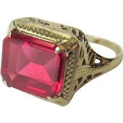 10K Filigree Ring, Synthetic Pink Sapphire, Art Deco