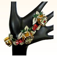 Coro Quivering Camillia Bracelet, 1938 Rhinestone Floral