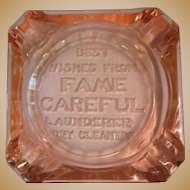 Depression Glass Ash Tray, Art Deco Advertising