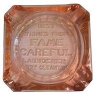 Depression Glass Ash Tray, Art Deco Advertising