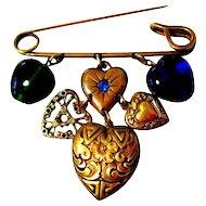Charm Hearts Brooch, Rhinestone, Glass, Filigree 80's Victorian Revival