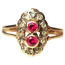 Victorian 9K Rose Gold Halo Ring, Rose Cut Diamonds