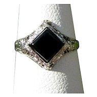 Gold Filigree Ring, Ostby Barton, 10K, Onyx