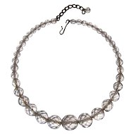 Rock Crystal Necklace, Art Deco Faceted Beads, 20's