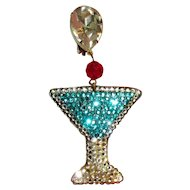 Stewart Lucas Earrings & Brooch, Rhinestone Martini  Demi