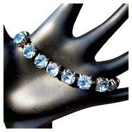 Deco Rhinestone Bracelet, Large Blue Stones