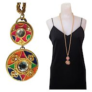 80's Necklace, Bright & Bold Enamel Medallions