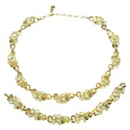 Trifari Rhinestone Necklace & Bracelet, Vintage Demi