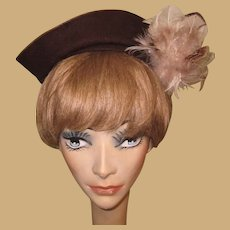 1930's Hat, Ostrich Feather, Vintage Vixen