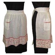 Vintage Party Apron, Sheer Cotton, Half