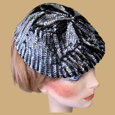 1940's Sequined Hat / Cap, Art Deco, Steel Blue
