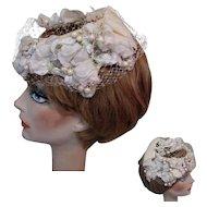Vintage Hat, Roses, Fruit, Netting, 50's
