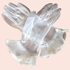 Vintage Gloves, Sheer, Accordion Pleated Gauntlets