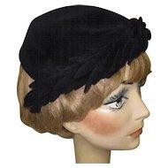Vintage Black Hat, Velvet, French, 1940's