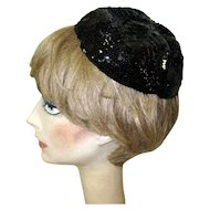 Sequined Skull Cap, Vintage 20's / 30's Black Hat