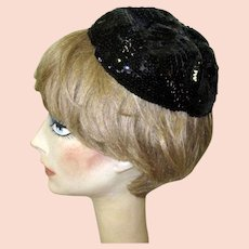 Sequined Skull Cap, Vintage 20's / 30's Black Hat