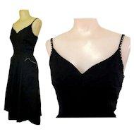 Rhinestone Cocktail Dress, Black, 50's, Vintage