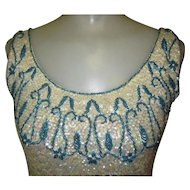 Beaded Sweater Top, Blouse, Vintage Shell Sequins & Fringe