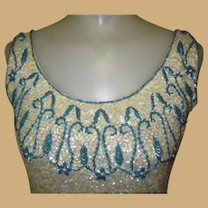 Beaded Sweater Top, Blouse, Vintage Shell Sequins & Fringe Holiday