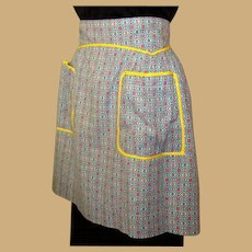 Vintage Half Apron, Yellow Trim, Jadite Green