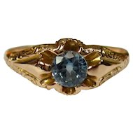 Victorian Gold Ring, 10K, Synthetic Aquamarine, Belcher Set