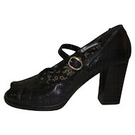 Peep Toe Heels, 70's Leather Dress Shoes