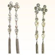 80's Rhinestone Shoulder Duster Earrings, Runway Stunners