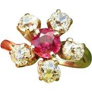 Ruby, Diamond Ring, 2.55 cts, Georgian 14K