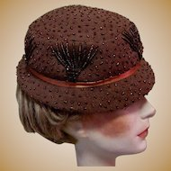 Vintage Beaded Hat, Mallory Wool, 40's / 50's