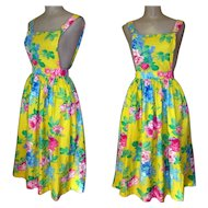 Pinafore Dress, Bright Floral, Vintage Jumper